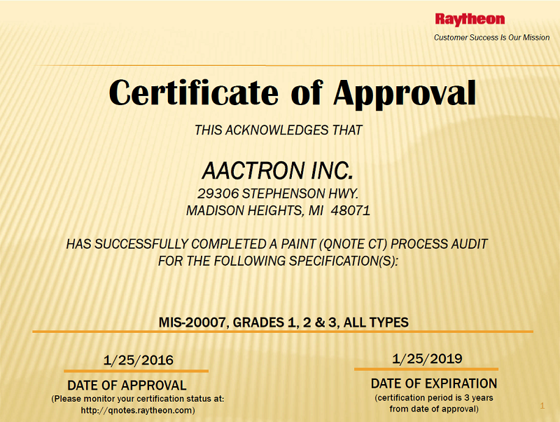 Aactron Raytheon Missle Systems ReApproval